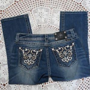 Miss Me rhinestone stud cuffed capri jeans